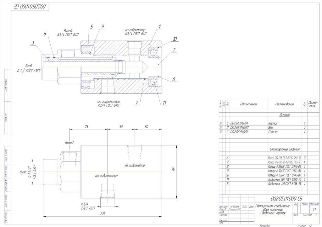 конструкторская документация на ротационное гидравлическое соединение