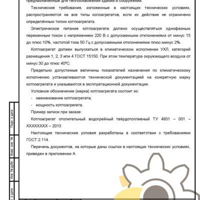 Технические условия на котел отопительный водогрейный стр.2