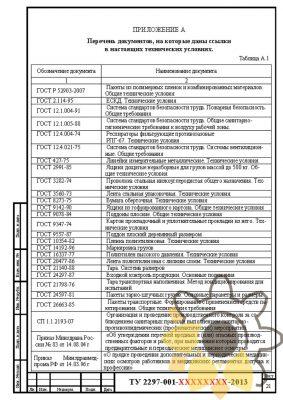 Технические условия на пакеты полиэтиленовые почтовые с клапаном стр.21